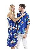 Couple Matching Hawaiian Luau Cruise Party Outfit Shirt Dress in Hibiscus Blue Men M Women M