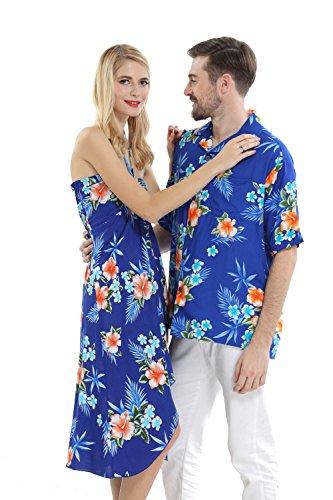 Couple Matching Hawaiian Luau Cruise Party Outfit Shirt Dress in Hibiscus Blue Men M Women S