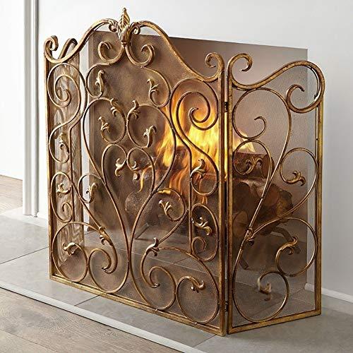 Pantalla Chimenea Decoración de Pantallas de Chimenea de Hogar, Gold 3 Panel Spark Flame Guard Baby Proof, Cubierta de Malla de Desplazamiento de Hierro Forjado, Ancho 131cm