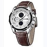 MINI FOCUS Men's Watch Fashion Waterproof Luxury Business Analog Quartz Watches Classic Brown Leather Chronograph Calendar Watch for Men