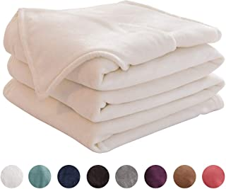 LIANLAM King Size Fleece Blanket Lightweight Super Soft and All Season Warm Fuzzy Plush Cozy Luxury Bed Blankets Microfiber (White, 104