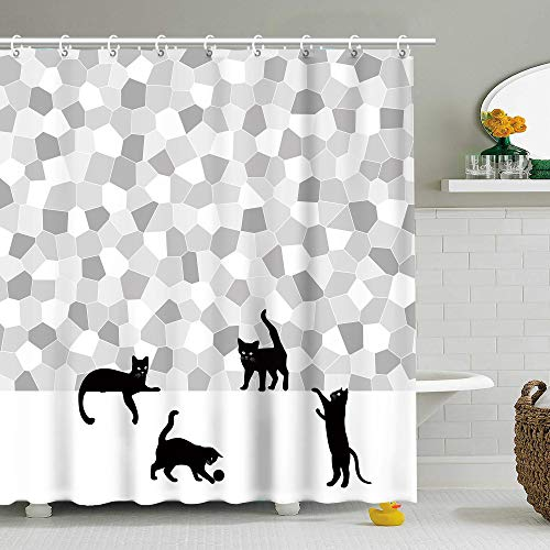Fabric Shower Curtain Black Cat Fun Silhouette Gray Mosaic, Grey and White 72 Inch Machine Washable