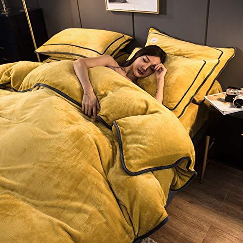 HOMRanger Flanell Samt Doppelseitig Vier-stück Anzug,Haut-freundliche Thicken Warm Bettwäsche,Bettlaken,Kissenbezug,Tragbares Langlebiges Bettwäsche-Set-C 1.5-1.8m