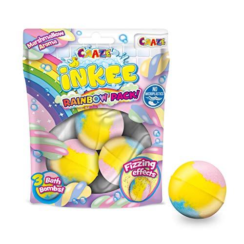 CRAZE INKEE Rainbow Multipack DREI Duftende Badebomben mit 3 verschiedenen Farbschichten und Marshmellow-Duft Farbbad 25840