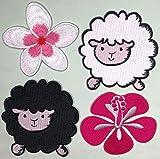 i-Patch – Parches – 0247 – Hibisco – Oveja – ovejas – Animales – Zoo – Flores – Rosa – Aplicación – Parche – Parche – Pegatinas – Badges – Parche termoadhesivo – para Planchar