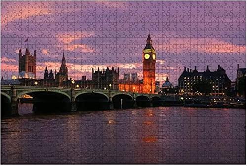1000 piezas: hermosa puesta de sol sobre el Big Ben y los edificios del parlamento, rompecabezas de madera de Londres, rompecabezas educativos para niños, regalo de descompresión para adultos, juegos