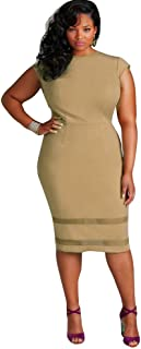 Kinghard Women Plus Size Design Solid Sleeveless Gauze Splice Party Mini  Dress bd331e5c4