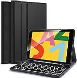 IVSO für iPad 10,2 Zoll (7. & 8. Gen, Modell 2020/2019) Tastatur, iPad Air 2019(3. Gen) Tastatur Hülle mit Pencil Halter, Bluetooth Abnehmbar QWERTZ Backlight Tastatur, Schwarz