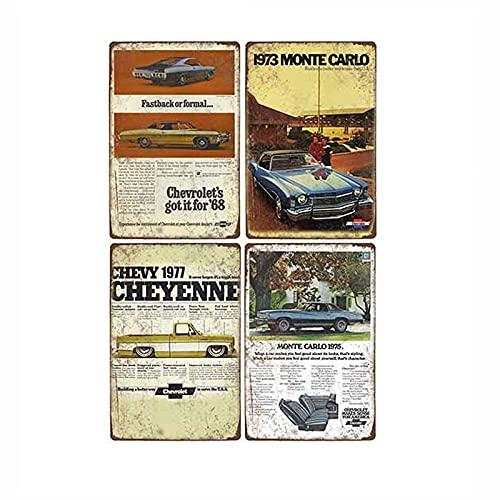 Cartel de coche de metal retro Hombre de hojalata Cave Bar Pub Garage Poster Vintage Wall Decorativo 4pcs-1