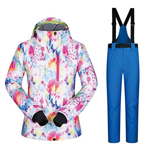 HQEFC Combinaisons de Neige Femmes Vestes et Pantalons Ensemble de Ski d'hiver Coupe-Vent Imperméable Respirant Combinaison de Ski,G,S