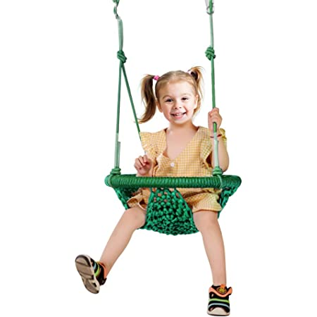 Blue Swing Seat for Kids with Adjustable Ropes for Kids Heavy Duty Rope Play Secure Children Swing Set for Indoor,Outdoor,Playground with Snap Hooks and Swing Straps ROPECUBE Swing Hand-Made