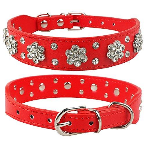 LHKMGH Rhinestone Rivets Cuero De Cuero Cuello Perro, Crystal Pet Perrito Perrito Collares para Pequeños Perros Medianos Rojos,28~33cm