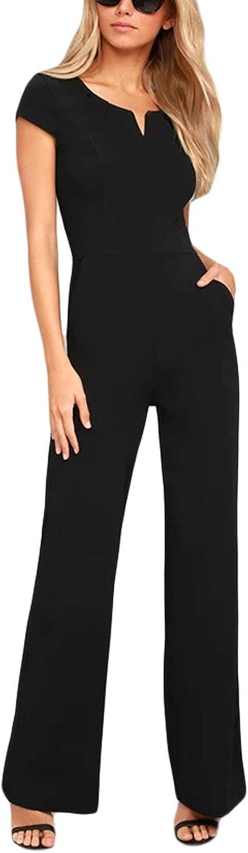 HOTAPEI Women Short Sleeve V Neck Jumpsuits High Waist Wide Leg Long Romper Pants