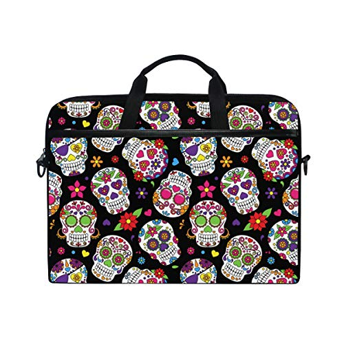 ISAOA Mexican Day of The Dead Sugar Skull Laptop Bag,Light Weight Shoulder Bag Laptop Messenger Bag Case Sleeve for 14-15.6 inch Notebook Computer Bag for Travel/Business/School