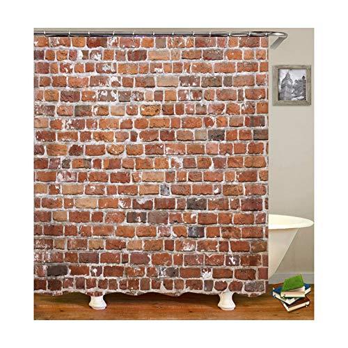 Knbob Duschvorhang Anti Schimmel Wand Stil 23 Shower Curtain 180X180CM mit Vorhanghaken Wohnaccessoires