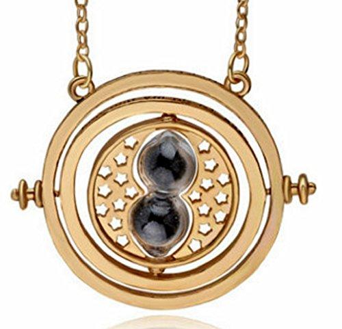 H&H UK, collana Giratempo con ciondolo a forma di clessidra, con sacchetto di velluto, Horcrux e magia e Placcato oro, colore: 03 Black, cod. HPTT-BK