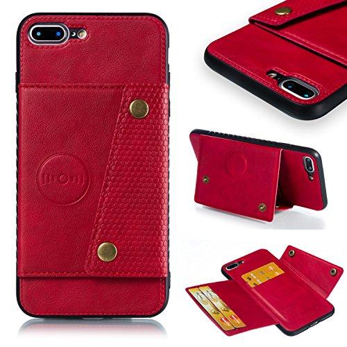 Jorisa Porta Carte Portafoglio Cover per iPhone 7 Plus/iPhone 8 Plus,Custodia in Pelle PU Slim Flip Case con Funzione Supporto Magnetico per Auto,Bumper Silicone Morbido Protettiva Cuoio Caso,Rossa
