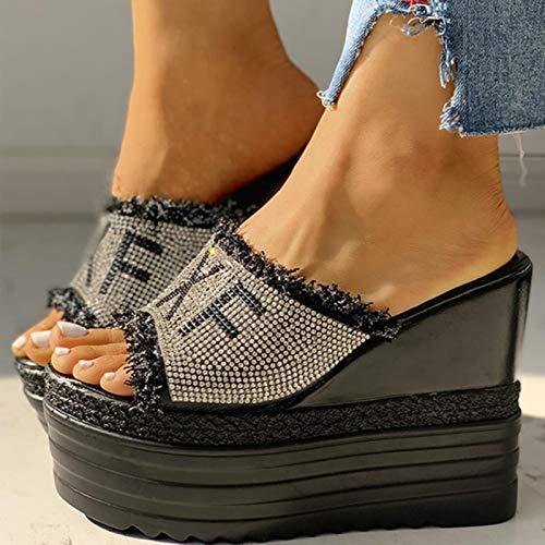 DQS Tacchi Alti Dropship Cristalli Tacchi Alti per Il Tempo Libero Sandali con Zeppe estive Scarpe da Donna Piattaforma da Donna Ciabatte Pantofola