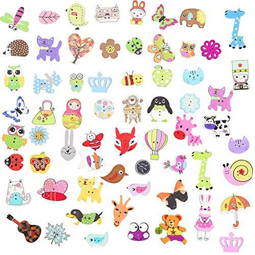 RMENOOR 100 PCS Botones Manualidades con 2 Agujeros Botones de Madera de Colores Mezclados Botones Infantiles para Costura DIY Scrapbooking Adornos Shabby Chic Tejido de Punto