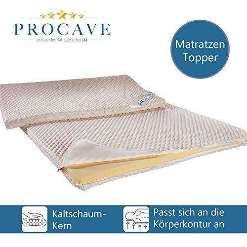 PROCAVE Kaltschaum Matratzen-Topper 60x200 cm mit Noppen-Doppeltuch-Matratzenbezug, mit Kalt Schaum-Kern, idealer Matratzentopper 100% aus Deutschland