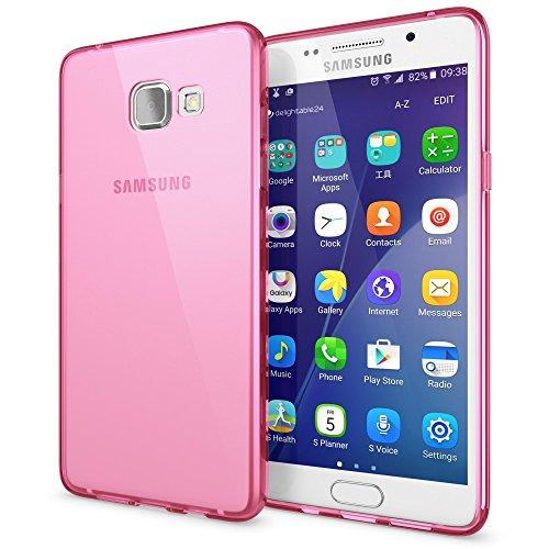 NALIA Custodia compatibile con Samsung Galaxy A5 2016, Cover Protezione Ultra-Slim Case Resistente Protettiva Cellulare in Silicone Gel Gomma Morbido Bumper Copertura Sottile - Trasparente Pink Rosa