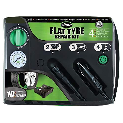 Slime 50129 Reifenreparatur bei Platten Reifen, Notfallausrüstung, enthält Dichtmittel und Reifenkompressor, Geeignet für Autos und andere Autobahn-Fahrzeuge, 10 Minuten Reparatur