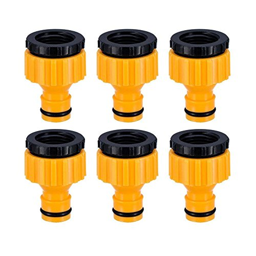 Topways 3/4 Pulgadas y 1/2 Pulgada BSP 2in1 Plástico Adaptador de Grifo roscado Exterior Conector de Manguera Graden Tap Connector Threaded Faucet Adapter 6 Piezas