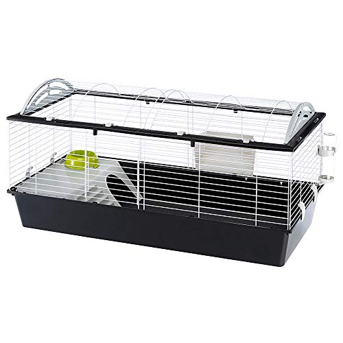 Ferplast Large and Spacious Rabbits Cage CASITA 120, Guinea Pigs and Small Animals House, Rounded Openable Roof, Accessories are Included, Made of Varnished White Metal and Plastic, 119 x58 x h 60 cm