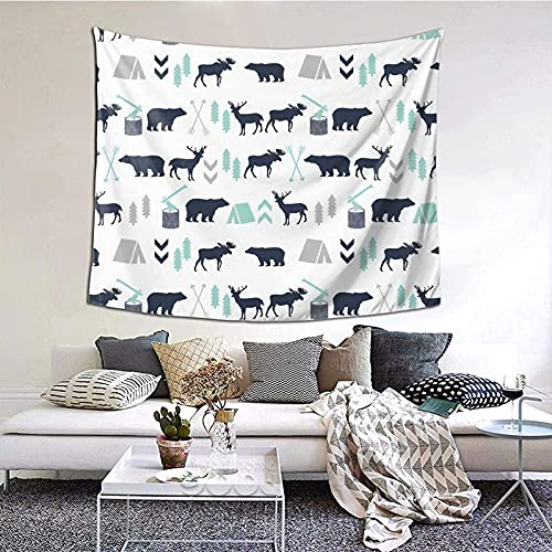Tapiz para colgar en la pared, madera y diseño, gris menta, azul marino, oso, alce, bosque, flecha, decoración del hogar, 152 x 130 cm