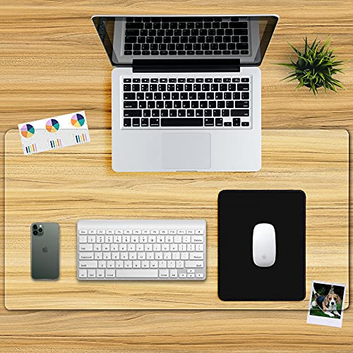 Awnour Clear Desk Pad Mat Blotter - 34 x 17 inches - 1.5mm Thick - Plastic Transparent Desk Mat for Desktop - Non Slip Writing Mat for Office and Home - Round Edges - Textured/Forested