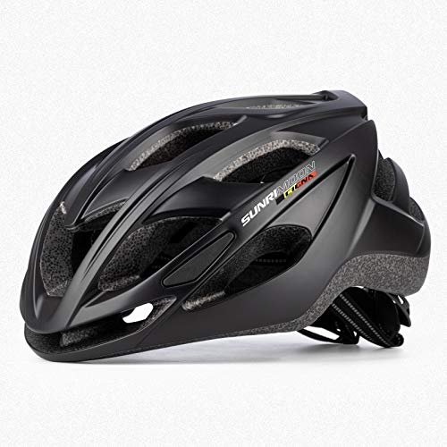 MOKFIRE Bicycle Helmet with Visor LED Taillight, Road Mountain Bike Cycling Helmet Lightweight Cycle Bicycle Helmets for Adult Men/Women 22.4-24.4 Inches (Matte Black)