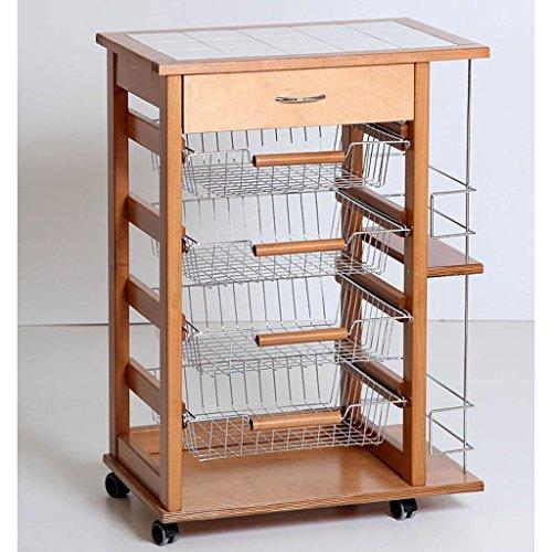 Carrello da cucina in legno portabottiglie con cassetti ...