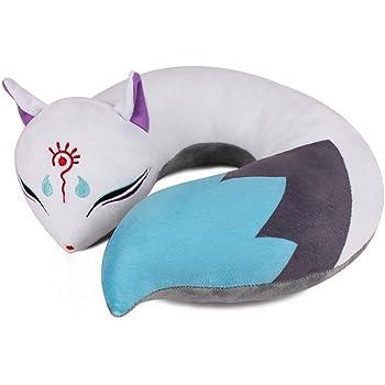AllLove4U Plush stuffed Toy Cute Spirit Fox U Shape Neck Pillow Travel Pillow Animation gift (Blue)