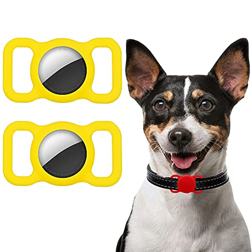 Ztowoto Funda de Silicona Compatible con Airtag Pet Collar, Airtag Funda Protectora para Perro Gato Collar 2 PCS (2-Amarillo)