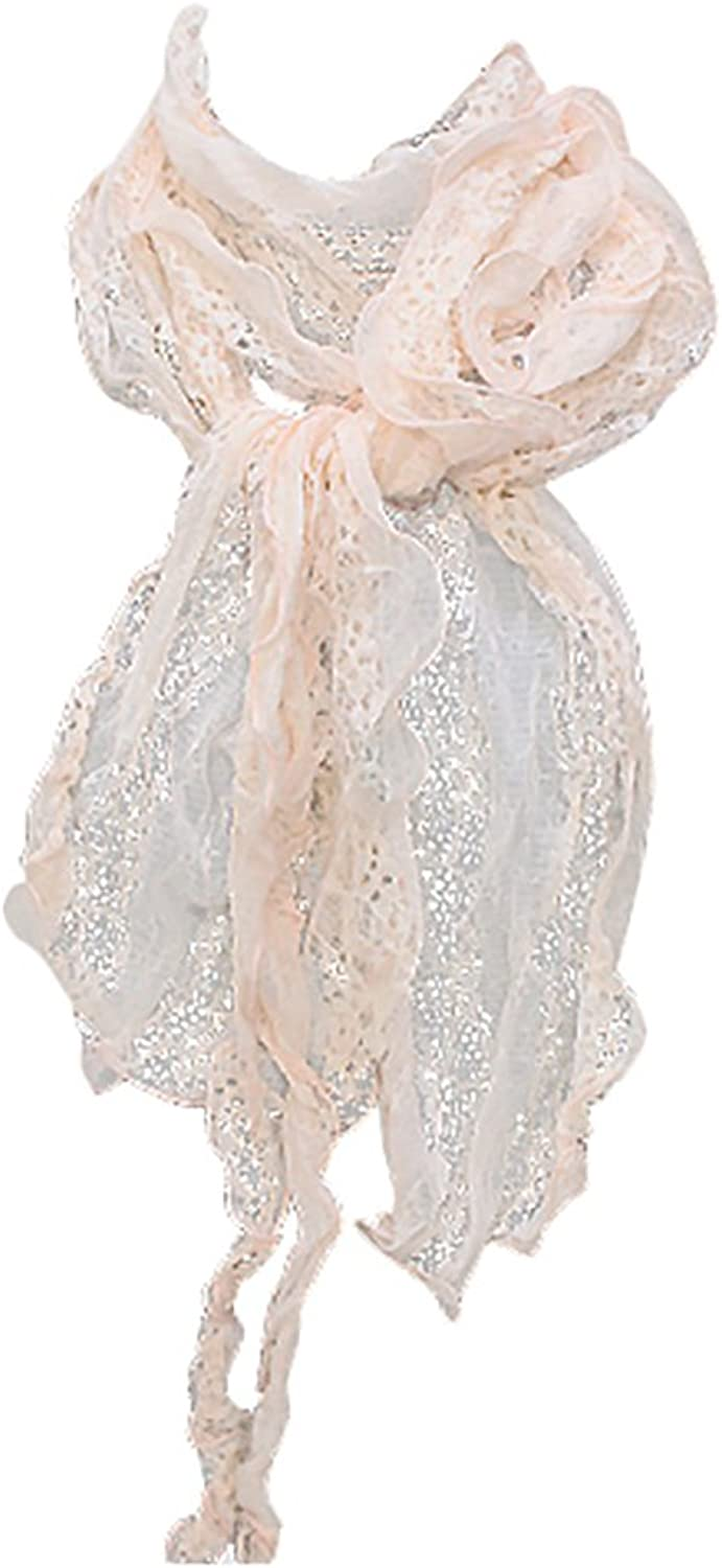 ACCESSORIESFOREVER Winter Cold Gorgeous Floral Decorated Lightweight Lace Fashion Scarf Pink