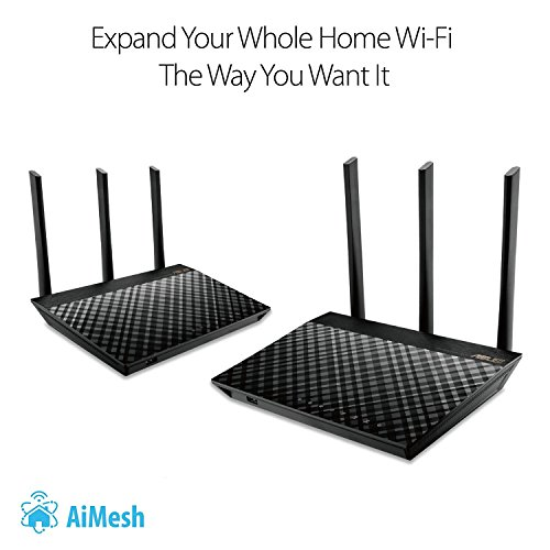 ASUS AC1900 Dual Band Whole Home Mesh Wi-Fi System for Large and Multi-Story Homes, Wired Inter-Router Connections, Aiprotection Pro Network Security Powered by Trend Micro and Adaptive QoS, Pack of 2