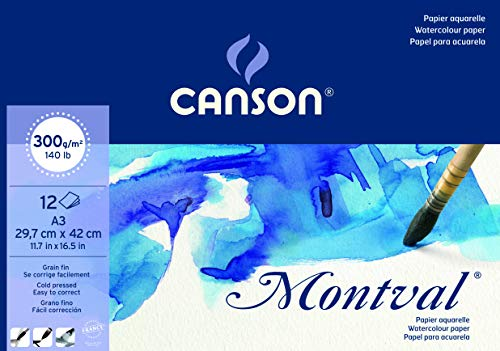 Bloc Encolado, A3, 12 Hojas, Canson Montval, Grano