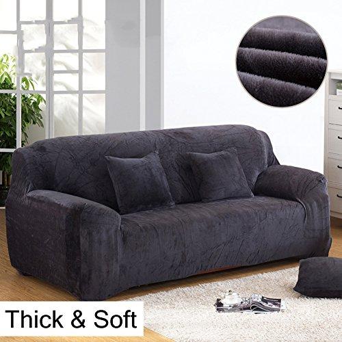Copridivano spesso per sofà a 1/2/3/4 posti, colorato, in tessuto elasticizzato vellutato per un'aderenza perfetta e facile, Gray, 3 Seater:195-230cm