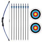 SinoArt 45' Recurve Bow and Arrow Set for Kids Archery with 8 Arrows Target Paper (Blue)