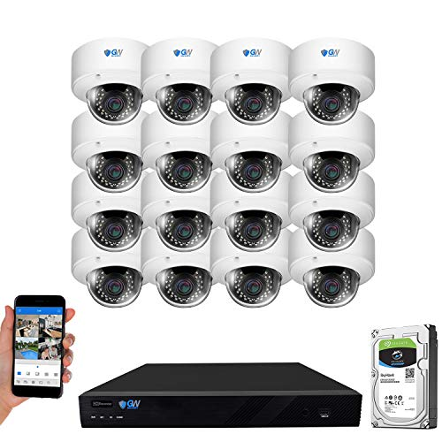 GW Security 16 Channel 4K NVR 5MP Outdoor Indoor Security Camera System - 16 x Dome 5MP 1920P Weatherproof 2.8-12mm Varifocal Zoom Microphone IP PoE Cameras, Pre-Installed 4TB Hard Drive