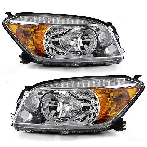 ACANII - For Chrome 2006 2007 2008 Toyota RAV4 Headlights Headlamps Replacement 06-08 Driver & Passenger Side
