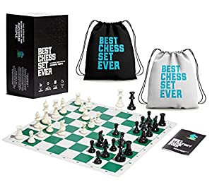 Best Chess Set Ever: Winning Combination of Elite Tournament Grade Components: Weighted Staunton Chess Pieces, Modern Silicone Board, Exclusive Strategy Guide for Beginner and Advanced Play, Portable Modern Game Box. Designed To Meet All Internationa...