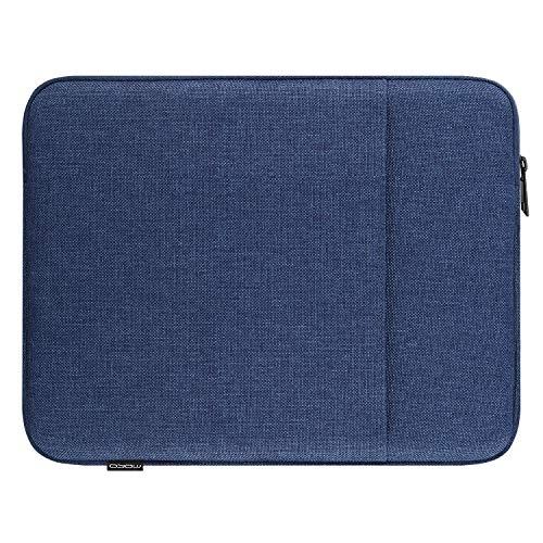 MoKo Sleeve Tasche Kompatibel mit iPad Pro 11, iPad 8th 7th Gen 10.2, iPad Air 4 10.9, Galaxy Tab A 10.1, Baumwolle & Leinen Tablethülle mit Reißverschluss & 2 Tasche Schutzhülle, Marineblau