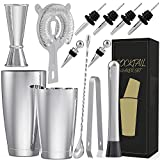 Stainless Steel Boston Cocktail Shaker Bar Set Tools with 28oz/20oz Shaker Tins, Double Measuring Jigger, Mixing Spoon, Liquor Pourers, Muddler, Strainer, Ice Tongs and Bottle Stoppers