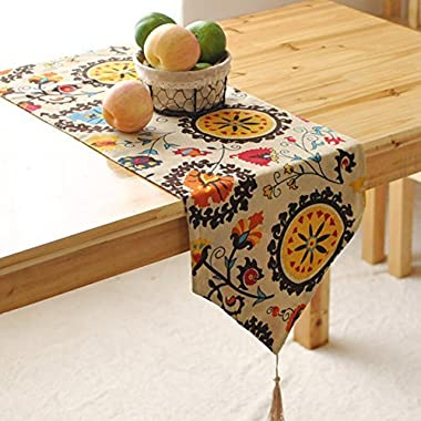 Aothpher Modern Boho Floral Pattern Table Runner with Tassel for Thanksgiving, Party & Christmas Decoration, 12x72 Inches