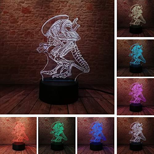 3D Illusion Lampe Weihnachtsgeschenk Außerirdisches Monster Nachtlicht Neben Tischlampe, 16 Farben Ändern Usb Lade Auto Ändern Touch Schalter Dekoration Lampen Kinder Geburtstagsgeschenk