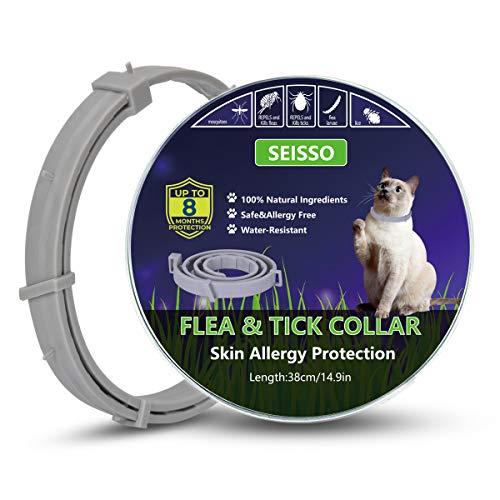 SEISSO Ungezieferhalsband für Katze, 38cm Flohhalsbänder Hundehalsbänder gegen Ungeziefer, Zecken Halsband Anti-Zecken und Flöhe