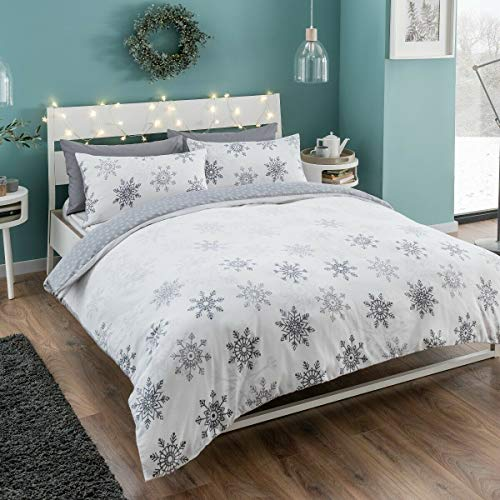 eirene threadz 100% Brushed Cotton Flannel REVERSIBLE Duvet Cover with Pillow Cases Christmas Xmas Festive Bedding Sets (Ombre Snow Flakes, Double)