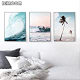 LWJZQT Cuadro sobre Lienzo 3 Piezas Nordic Landscape Surf Poster Wall Art Aerial Beach Ocean Wave Prints Palm Tree Canvas Painting Wall Picture For Living Room 60×80cm