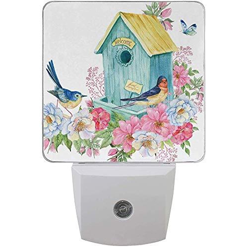 Plug-in Nachtlicht Aquarell Vogelhaus Schmetterling Floral Nachtlichter mit Auto Dämmerung bis Morgendämmerung Sensor Nachtlichter